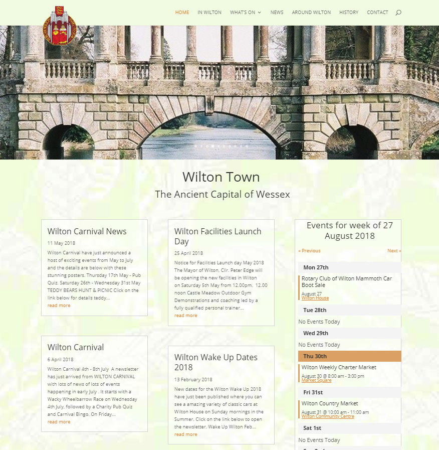 a screenshot of wilton town website homepage
